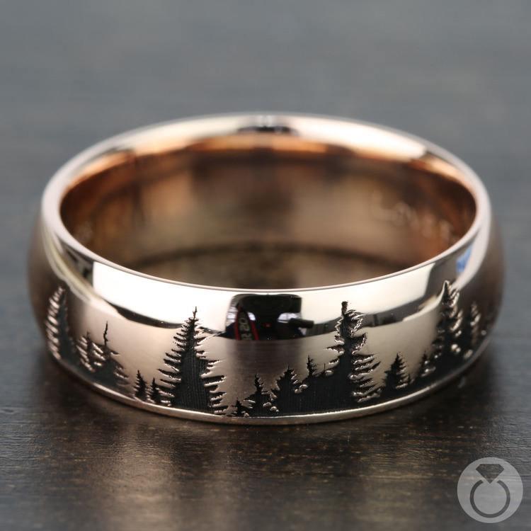Laser Carved Forest Pattern Men's Wedding Ring in Rose Gold | 03