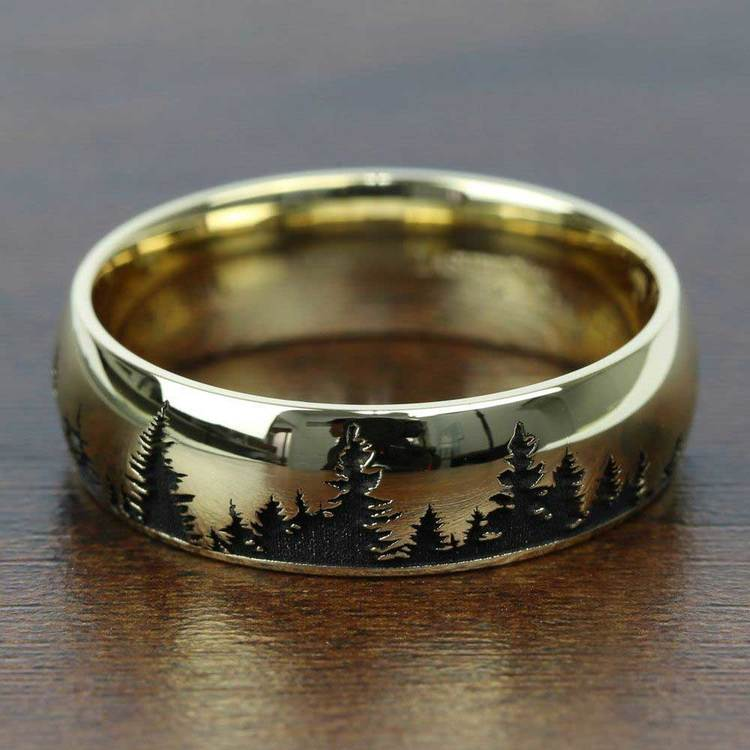 Laser Carved Forest Pattern Men's Wedding Ring in Yellow Gold | 03