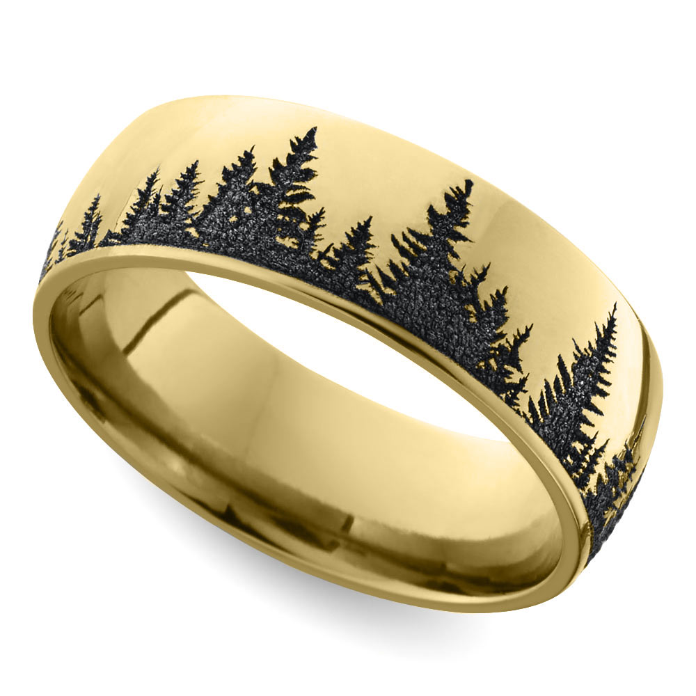 Laser carved forest pattern men39s wedding ring in yellow gold for Mens carved wedding rings