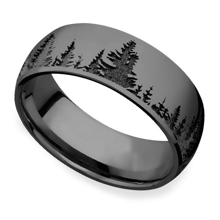 Laser Carved Forest Pattern Polished Men's Elysium Ring | 01