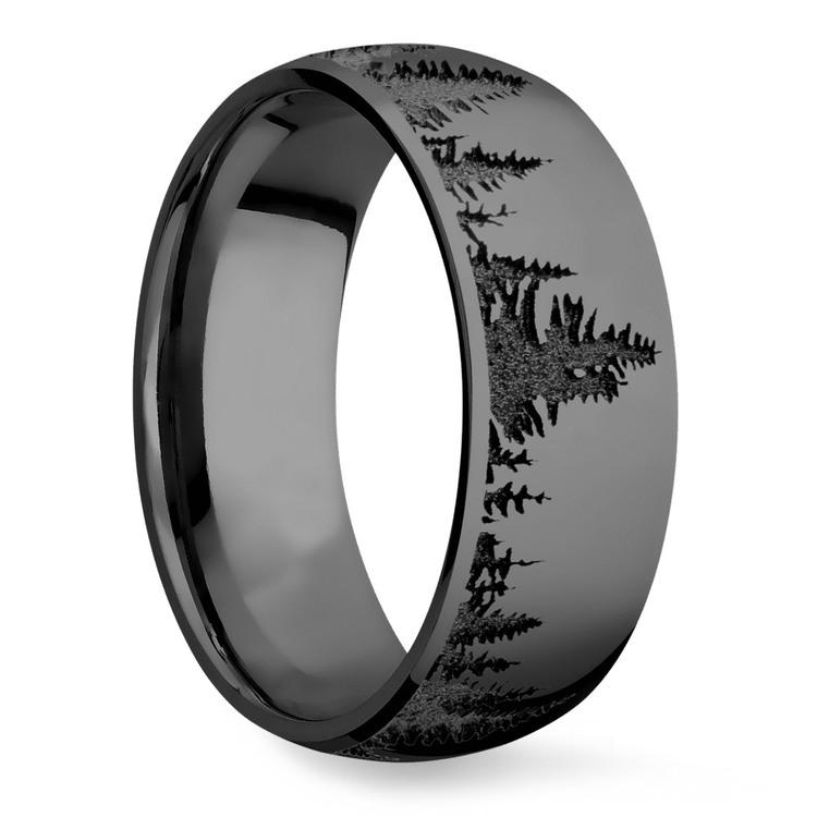 Laser Carved Forest Pattern Polished Men's Elysium Ring | 02