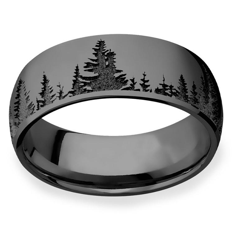 Laser Carved Forest Pattern Polished Men's Elysium Ring | 03