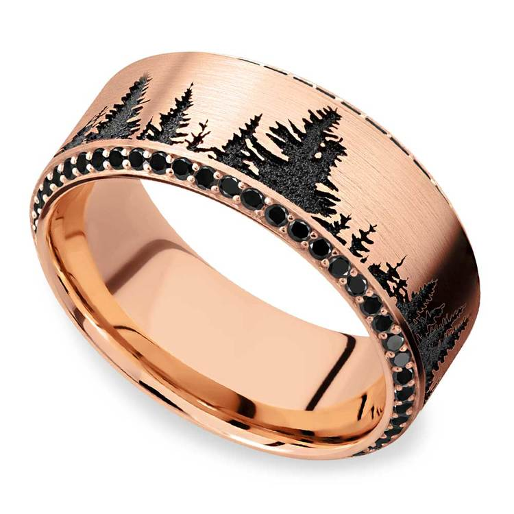 Forest Pattern Rose Gold Mens Band with Black Diamonds | 01