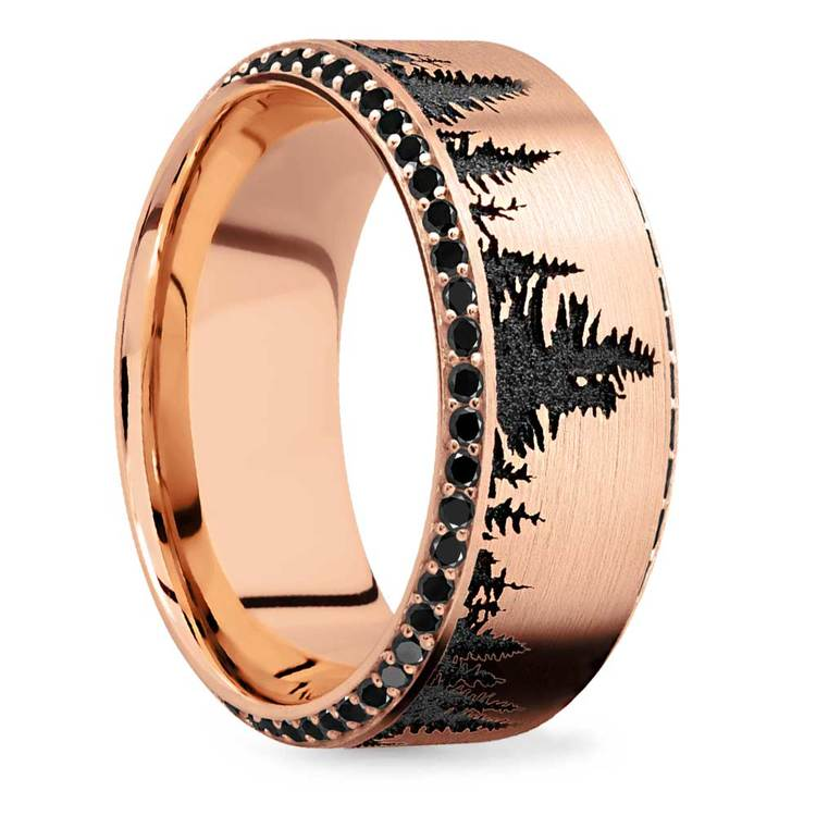 Forest Pattern Rose Gold Mens Band with Black Diamonds | 02