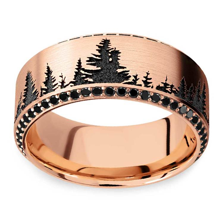 Forest Pattern Rose Gold Mens Band with Black Diamonds | 03
