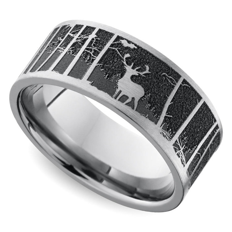 Laser Carved Mountain Themed Men's Wedding Ring in Titanium | 01