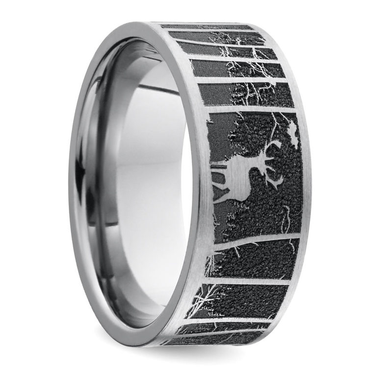 Laser Carved Mountain Themed Men's Wedding Ring in Titanium | 02