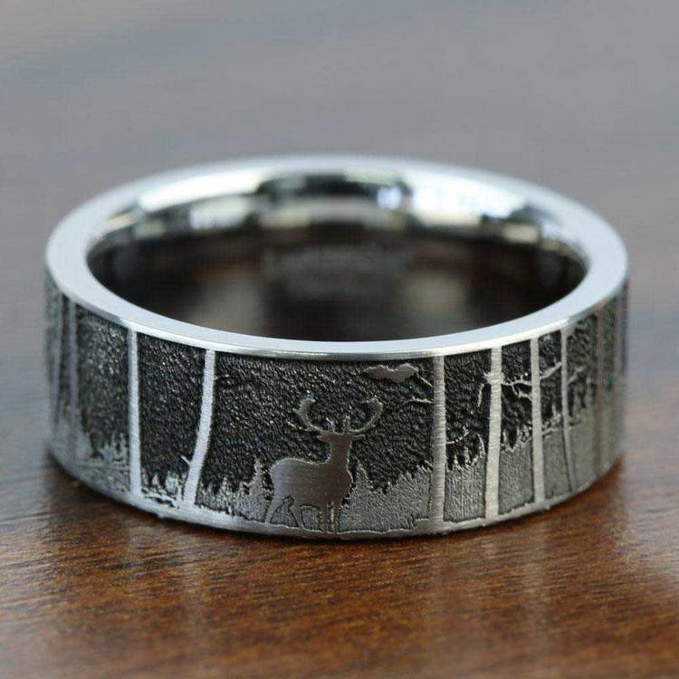Laser Carved Mountain Themed Men's Wedding Ring in Titanium | 05