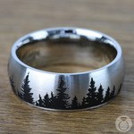 Laser Carved Pine Tree Pattern Men's Wedding Ring in Cobalt | Thumbnail 03