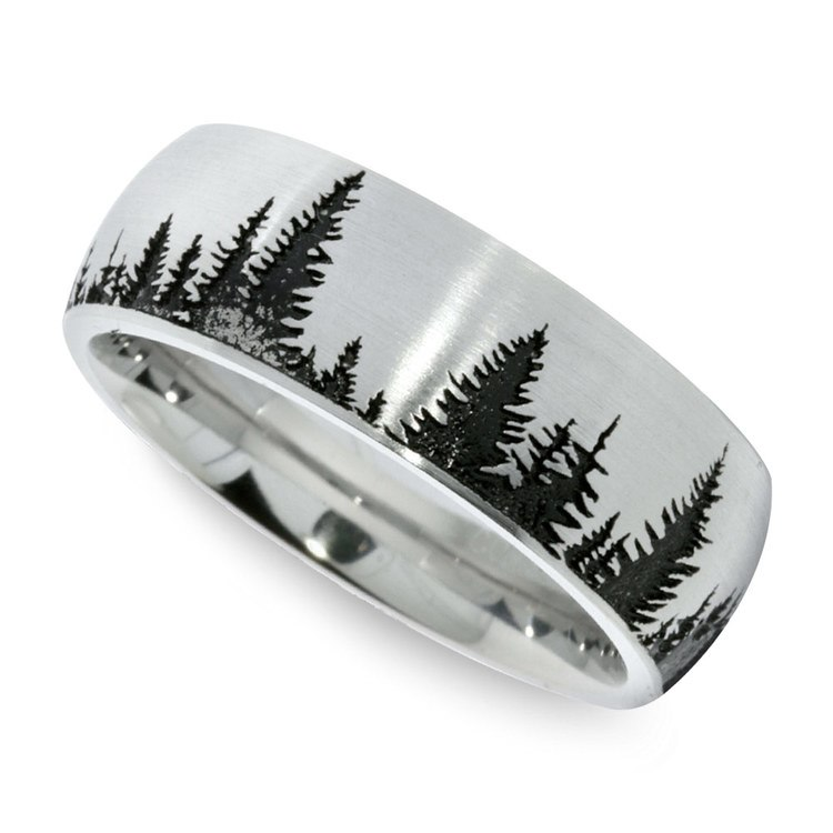 Laser Carved Pine Tree Pattern Men's Wedding Ring In Cobalt
