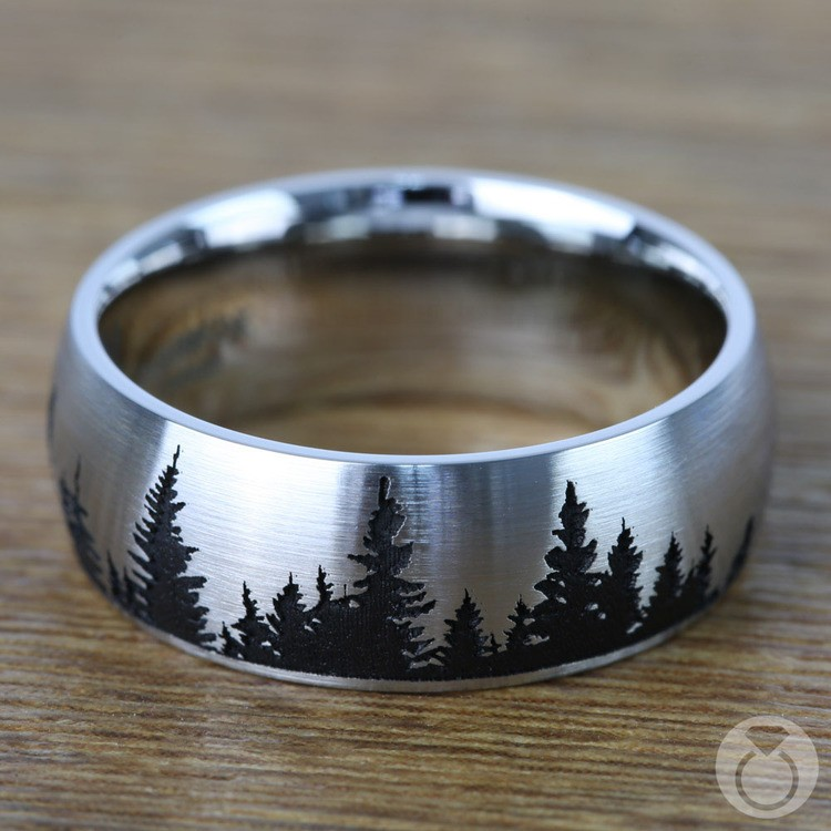Laser Carved Pine Tree Pattern Men's Wedding Ring in Cobalt | 03
