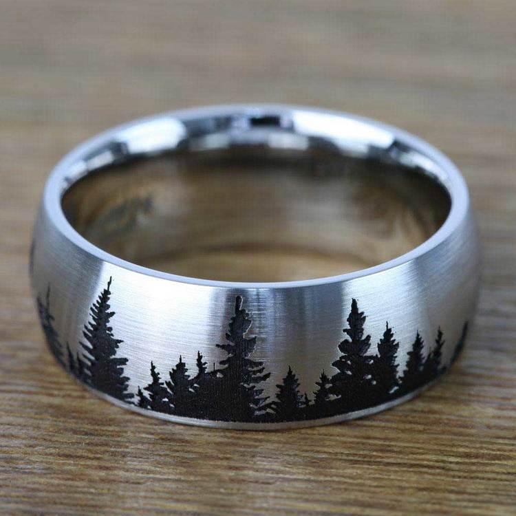 Laser Carved Pine Tree Pattern Men's Wedding Ring in Cobalt | 03