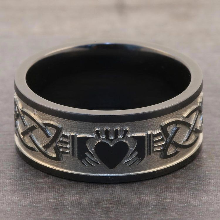 Laser Engraved Celtic Claddagh Mens Wedding Band in Zirconium | 05