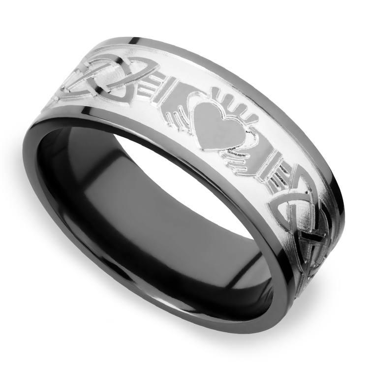Laser Engraved Celtic Claddagh Mens Wedding Band in Zirconium | 01