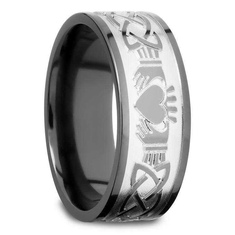 Laser Engraved Celtic Claddagh Mens Wedding Band in Zirconium | 02
