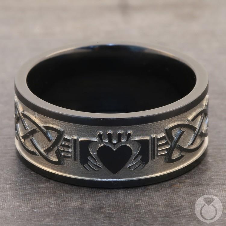 Laser Engraved Celtic Claddagh Mens Wedding Band in Zirconium   04