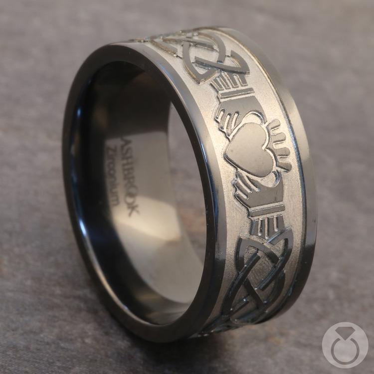 Laser Engraved Celtic Claddagh Mens Wedding Band in Zirconium | 04