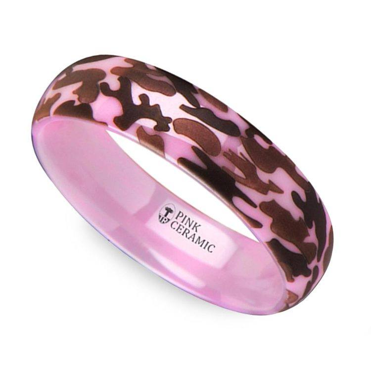 Laser Engraved Pink Camo Wedding Ring in Ceramic | 01
