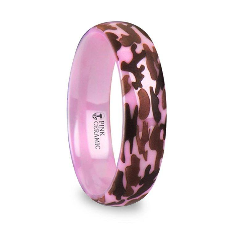 Laser Engraved Pink Camo Wedding Ring in Ceramic | 02