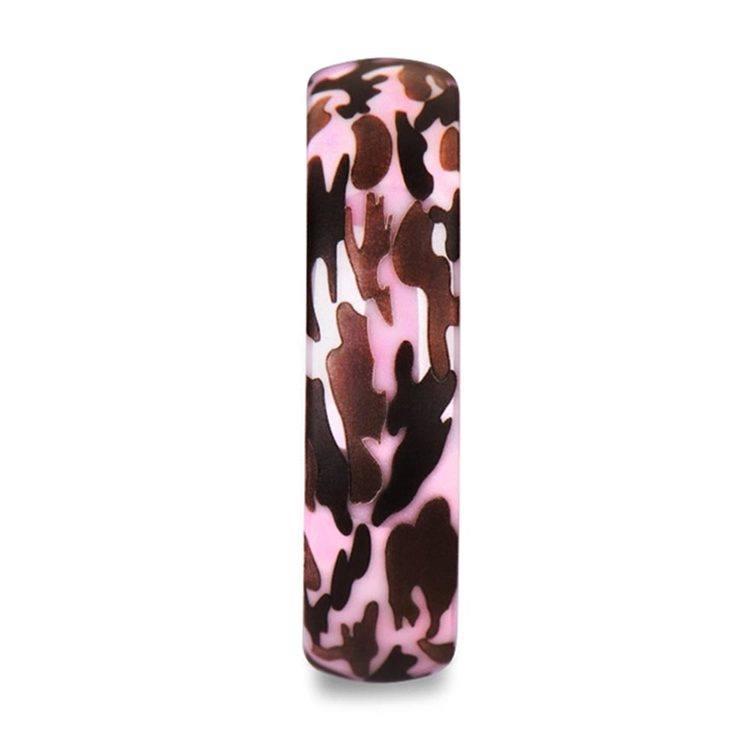 Laser Engraved Pink Camo Wedding Ring in Ceramic   03