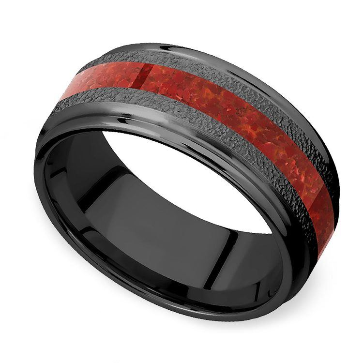 Lava Flow - Zirconium Men's Band with Red Coral Inlay   01