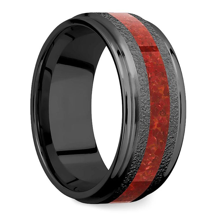 Lava Flow - Zirconium Men's Band with Red Coral Inlay   02