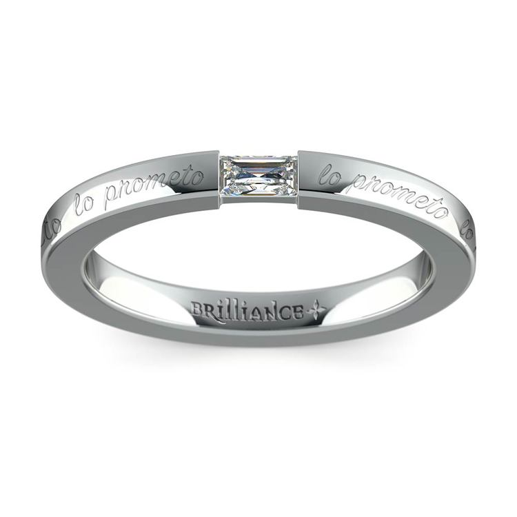 """Lo Prometo"" Baguette Diamond Promise Ring in White Gold (2.5mm) 