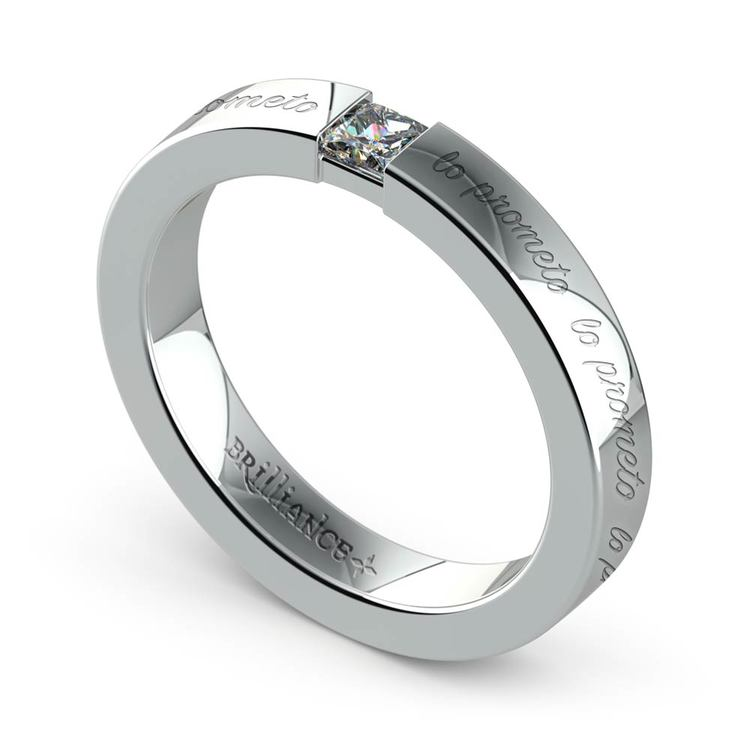 """Lo Prometo"" Princess Diamond Promise Ring in White Gold (3.4mm) 