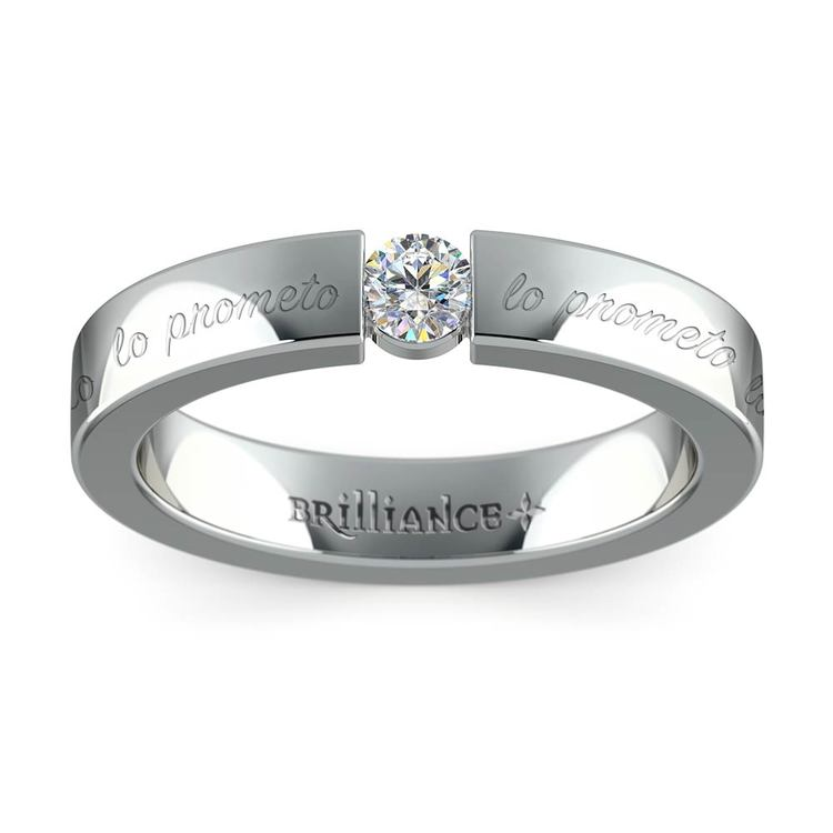 """""""Lo Prometo"""" Round Diamond Promise Ring in White Gold (3.75mm) 