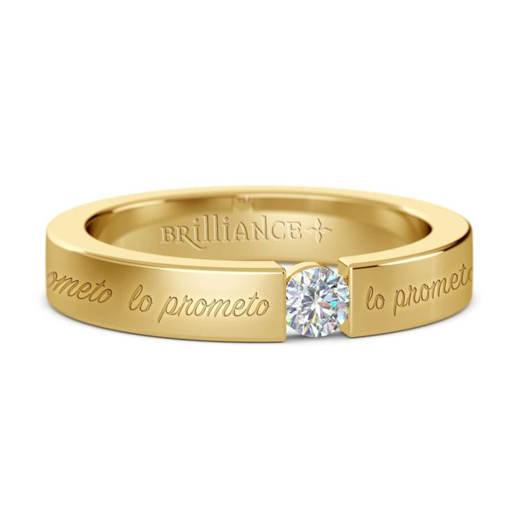 """""""Lo Prometo"""" Round Diamond Promise Ring in Yellow Gold (3.75mm) 