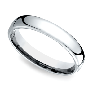 Low Dome Men's Wedding Ring in White Gold (4.5mm)