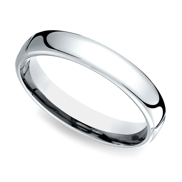 Low Dome Men's Wedding Ring in White Gold (4.5mm)   01
