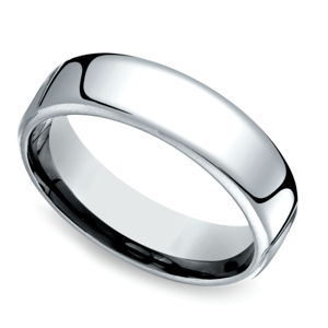 Low Dome Men's Wedding Ring in White Gold (6.5mm)