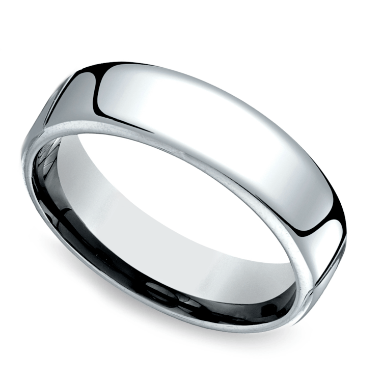 Low Dome Men's Wedding Ring in White Gold (6.5mm) | 01