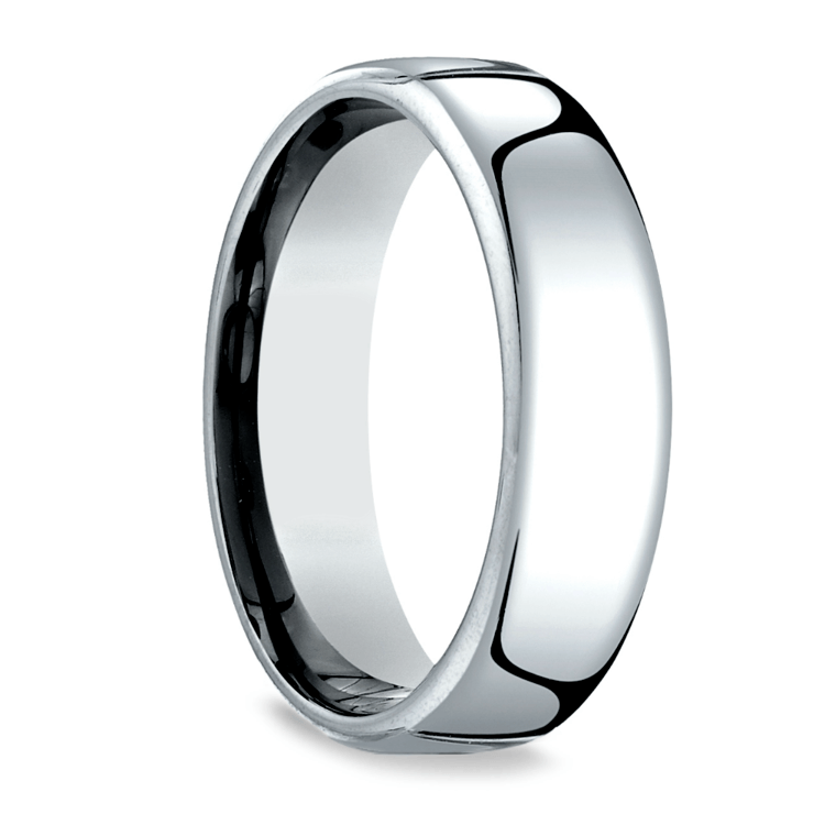 Low Dome Men's Wedding Ring in White Gold (6.5mm) | 02
