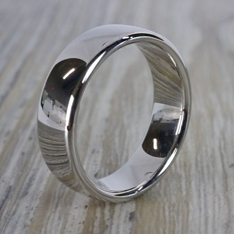 Low Dome Men's Wedding Ring in White Gold (6.5mm) | 03