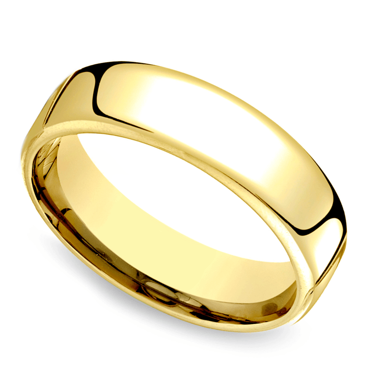 Low Dome Men's Wedding Ring in Yellow Gold (6.5mm) | 01