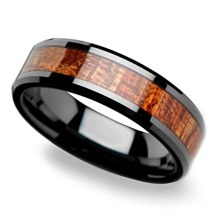 Mahogany Hard Wood Inlay Men's Beveled Ring in Black Ceramic (6mm) | 01
