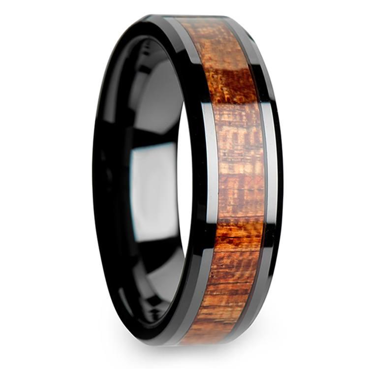 Mahogany Hard Wood Inlay Men's Beveled Ring in Black Ceramic (6mm) | 02