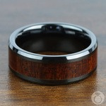 Rich Mahogany - Black Ceramic Mens Ring with Wood Inlay | Thumbnail 04