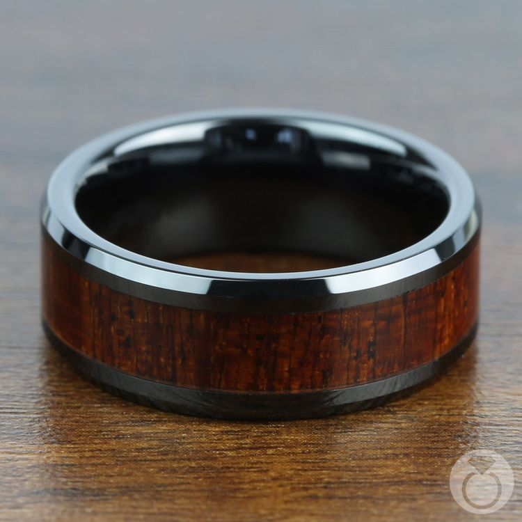 Rich Mahogany - Black Ceramic Mens Ring with Wood Inlay | 04