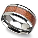 Mahogany Hard Wood Inlay Men's Beveled Ring in Tungsten (10mm) | Thumbnail 01