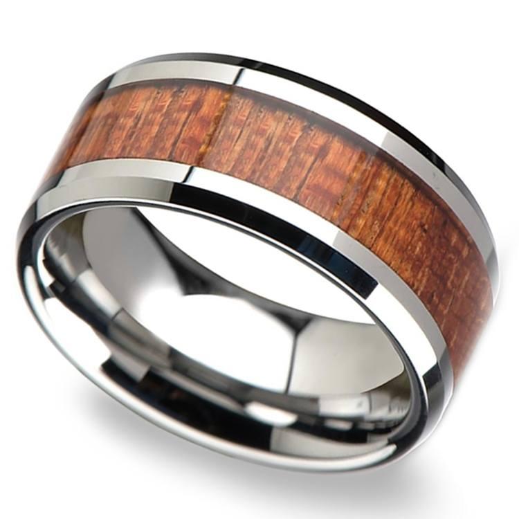 Mahogany Hard Wood Inlay Men's Beveled Ring in Tungsten (10mm) | 01