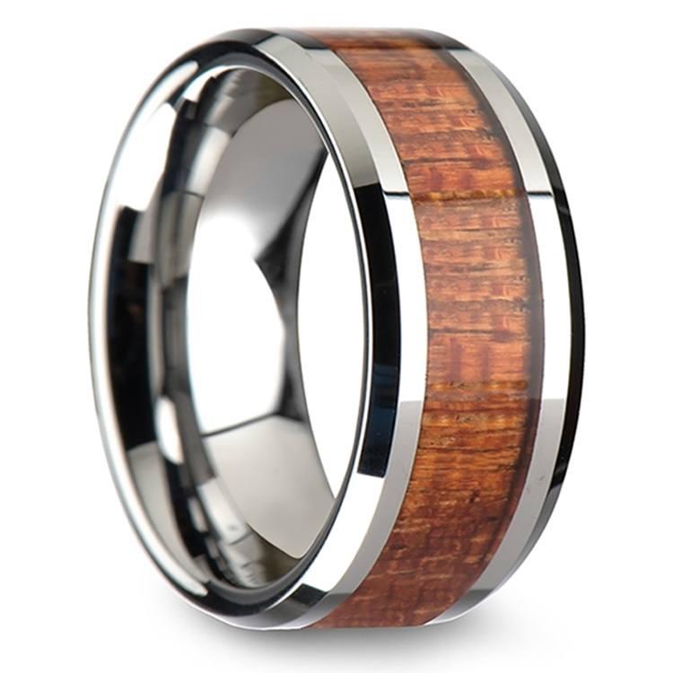 Mahogany Hard Wood Inlay Men's Beveled Ring in Tungsten (10mm) | 02