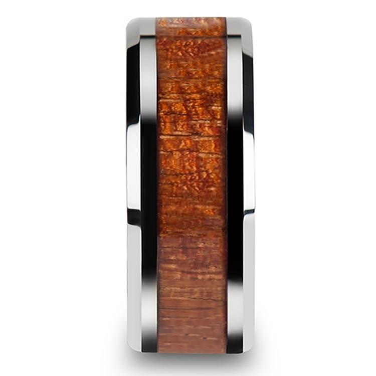 Mahogany Hard Wood Inlay Men's Beveled Ring in Tungsten (10mm) | 03