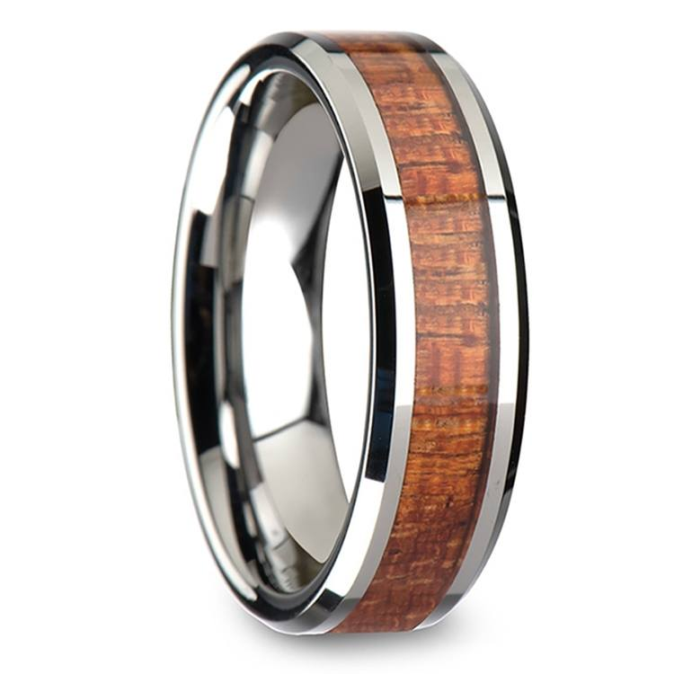 Mahogany Hard Wood Inlay Beveled Ring in Tungsten (4mm)   02