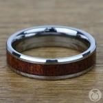 Low Tide - 6mm Beveled Tungsten Mens Band with Mahogany Inlay | Thumbnail 04
