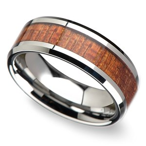 Mahogany Hard Wood Inlay Men's Beveled Ring in Tungsten (8mm)