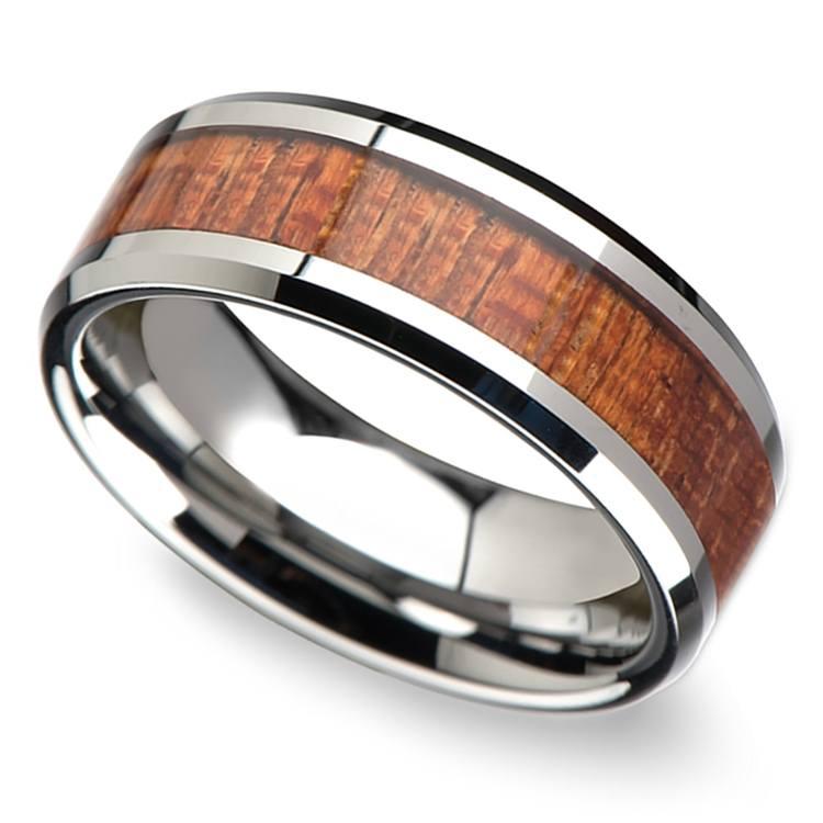 Mahogany Hard Wood Inlay Men's Beveled Ring in Tungsten (8mm) | 01