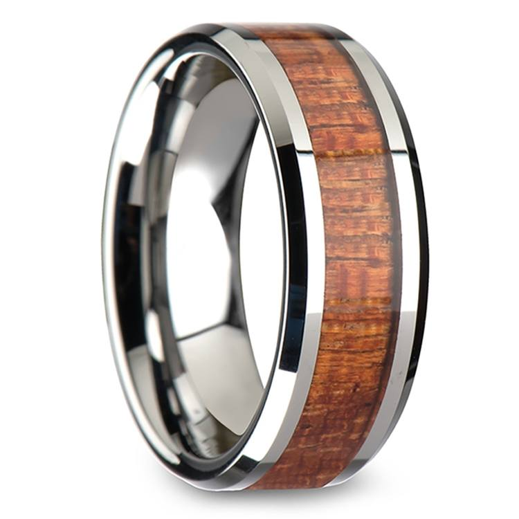 Mahogany Hard Wood Inlay Men's Beveled Ring in Tungsten (8mm) | 02